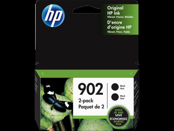 """Image Description of """"HP 902 2-pack Black Original Ink cartridges""""."""